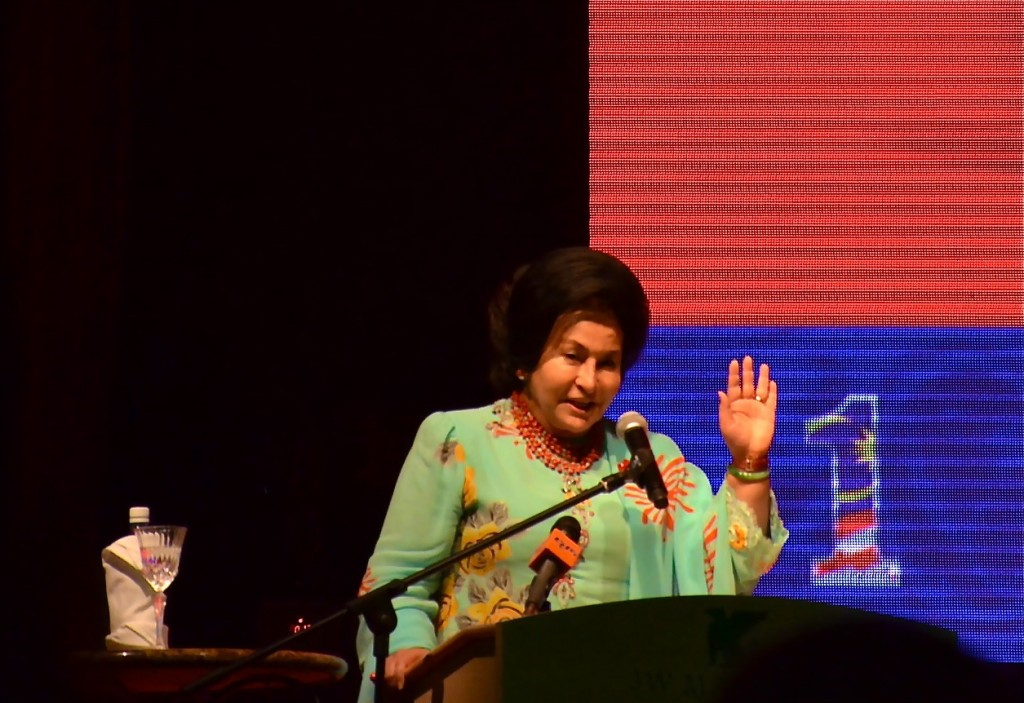 首相夫人羅斯瑪發表演講。攝影: 王曉蘭 (北美聖地牙哥)