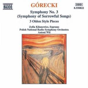 波蘭國家廣播交響樂團灌製的悲歌交響曲光碟封面。雖然出自本土,但樂曲演奏稍嫌沉悶甚而拖沓,女高音音色渾厚,但也因此缺少變化和表現力。