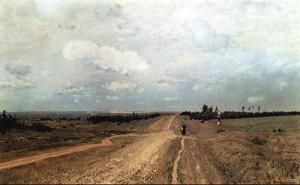 俄羅斯畫家列維坦的《弗拉基米爾卡之路》,描繪通往西伯利亞流放地的古道。