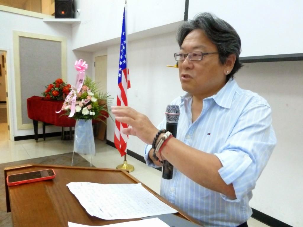 美作協會長趙俊邁致詞感謝各界懷念他的亡妻石語年。